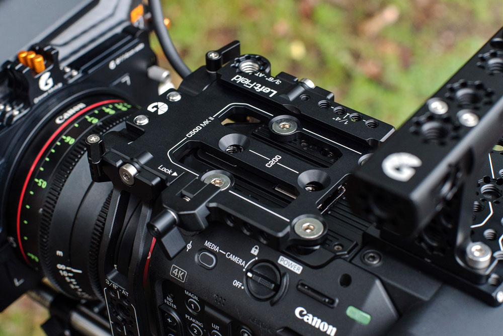 Top plate of Left Field cage for Canon C500 Mk II